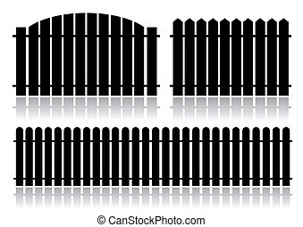 Black fence isolated on white