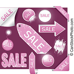set of sale labels - pink and white colors, EPS10
