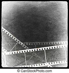 Photographic negative background. Isolated on black.