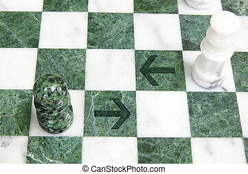 Arrows on a chess board with chess pieces