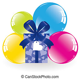 vector bunch of colorful balloons and a gift box