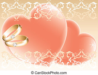 wedding theme with golden rings and hearts
