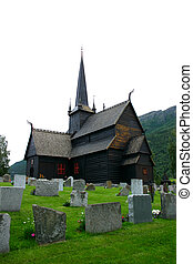 Lom Stave Church and cemetery - vertical