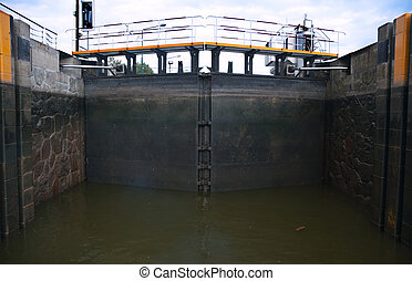 Sluice Gate - Inside Closed Sluice Gate / Lock on River