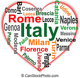 Italy Heart and words cloud with larger cities - Italy in...