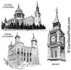 London architectural symbols: St Paul Cathedral, Big Ben and...