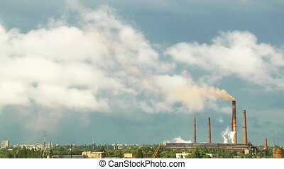 industrial landscape time lapse - panoramic view at...