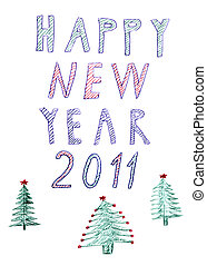 happy new year 2011 trees, handwrited pen drawing - happy...