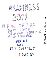 happy new 2011 year isolated, boss message congratulation -...