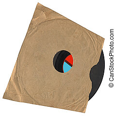 vintage envelope with packed single old retro vynil 78rpm...
