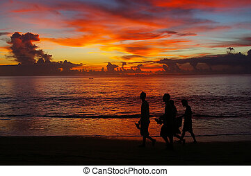 Walking on the beach at sunset - Young men walking on the...