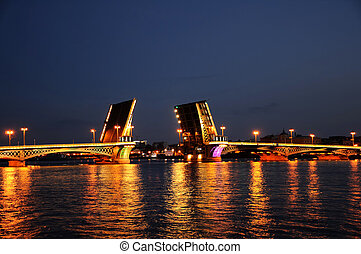 swing bridge - bascule bridge across the Neva in St....