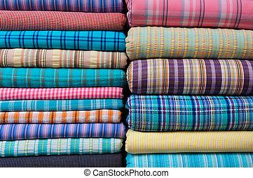Têxtil, indianas, tecido, mercado, venda