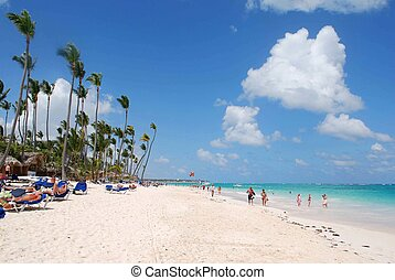 Punta Cana - Typical caribbean image. The beach of Punta...