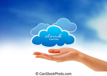 Hand holding a Cloud - High resolution graphic of a hand...