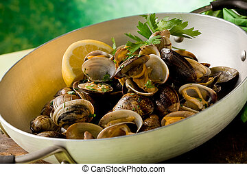 Pan with fresh Clams - photo of delicious clams inside a pan...