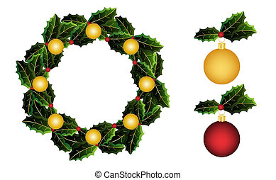 Holly wreath and round ornaments - Christmas holly wreath...