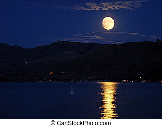 Full Moon with Reflecting on the Surface of a Lake