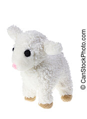 Soft Toy Lamb on White Background