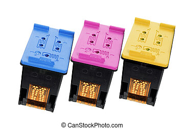 Color Ink Cartridges on White Background