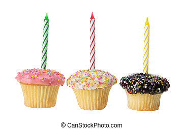 Cup Cakes with Birthday Candles on white Background