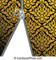 Seamless damask background with zipper for design