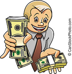 Businessman with money - Cheerful businessman with money as...