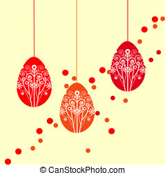 easter eggs with floral ornament