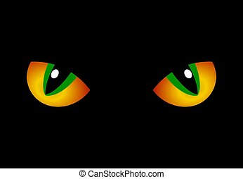 Cat Eyes - Illustration of a pair of big yellow and green...