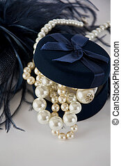 Casket with pearl beads - Dark blue casket with pearl beads...