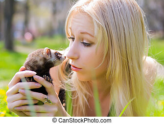 Girl with a polecat