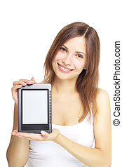 girl with e-book on white background - girl with the e-book...