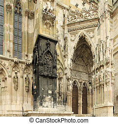 Regensburg Ratisbon, Bavaria in Germany - Cathedral door...