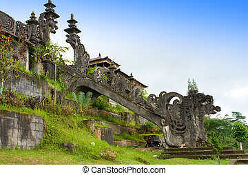 """The biggest temple complex, """"mother of all temples """". Bali,Indonesia. Besakih. Ladder with dragons"""