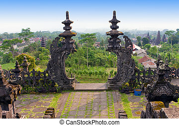 """The biggest temple complex, """"mother of all temples """". Bali,Indonesia. Besakih.Kind from the top terrace of a temple"""
