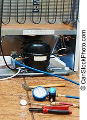 refrigerador, reparación, Mantenimiento, trabajo