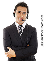 Call center operator - Stock image of male call center...
