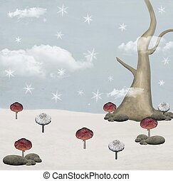 Winter mushrooms background - Hand drawn and painted winter...