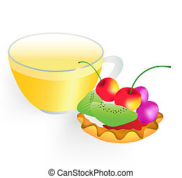 Fruit cake and cup of green tea on a white background