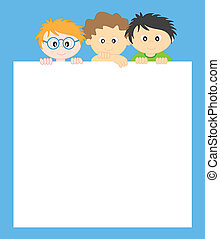 kids and frame. Space for text or photo
