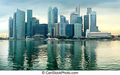 Singapore at sunset - Panorama of Singapore in the beautiful...