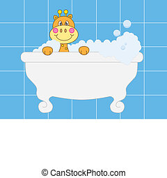 giraffe boy bathing - Baby girl arrival announcement card....