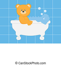 bathing bear - Baby boy arrival announcement card. bathing...