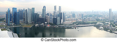 Singapore - Panorama of Singapore from Marina Bay Sand...