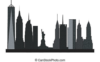 new york skyline with towers offices and homes