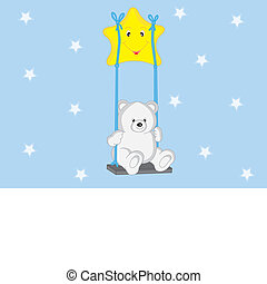 Bear swinging from a star - Postcard.Bear swinging from a...