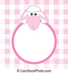 sheep pink frame Space for text or photo