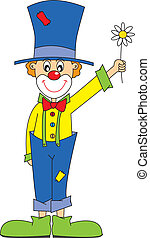 clown flower - Funny clown Vector art-illustration on a...