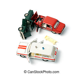 Car crash - Toy cars in accident on a white background