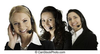 Cheerfull call center operators